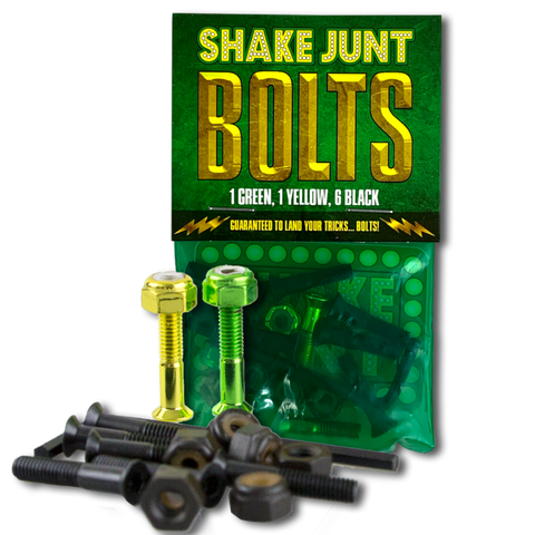 "SHAKE JUNT BOLTS 1"" ALLEN HARDWARE - 1 GREEN, 1 YELLOW AND 6 BLACK"