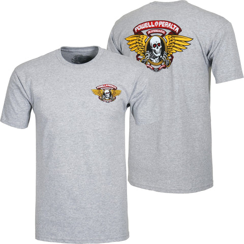 POWELL PERALTA WINGED RIPPER T-SHIRT - HEATHER GREY