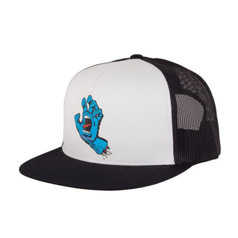 SANTA CRUZ SCREAMING HAND TRUCKER HAT - WHITE/BLACK