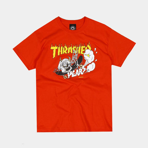 THRASHER 40 YEARS NECKFACE T-SHIRT - ORANGE
