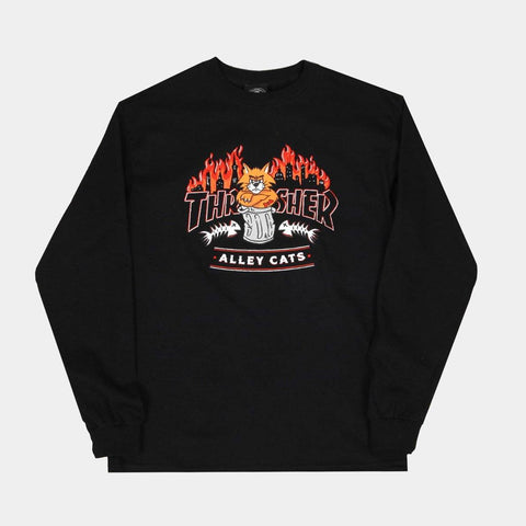THRASHER ALLEY CATS LONGSLEEVE T-SHIRT - BLACK
