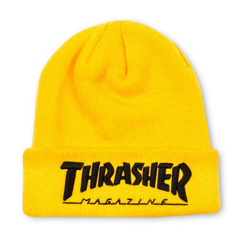 THRASHER EMBROIDERED BEANIE - YELLOW