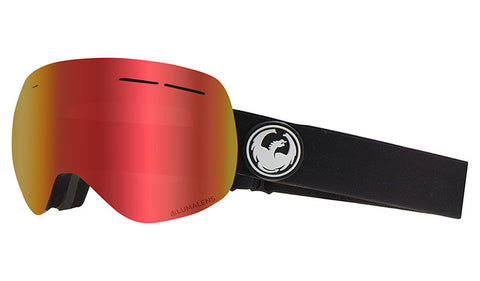 DRAGON X1S GOGGLE -  BLACK / LUMALENSE RED ION + LUMALENSE ROSE