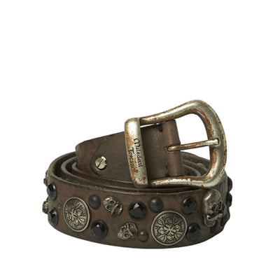 Italian Handcrafted Belt Skulls and Coin | High Quality Leather | Luxury Handmade Belt italyci