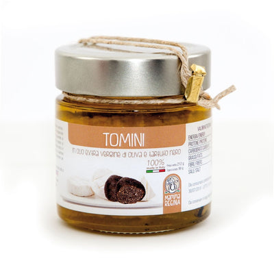 Italian Handcrafted Tomini in Extra Vergin Olive Oil and Black Truffle Pickle italyci