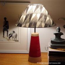 "Load image into Gallery viewer, SLANT red ~ 12"" Grey-Black IKAT cone"