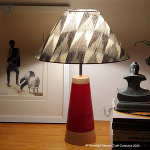"SLANT red ~ 12"" Grey-Black IKAT cone"