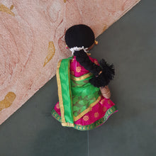 Load image into Gallery viewer, HALF SARI SITA (pink brocade n green)