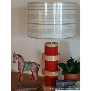 "DOMUS LAMP Red  ~ 12"" B&W STRIPES SHADE"