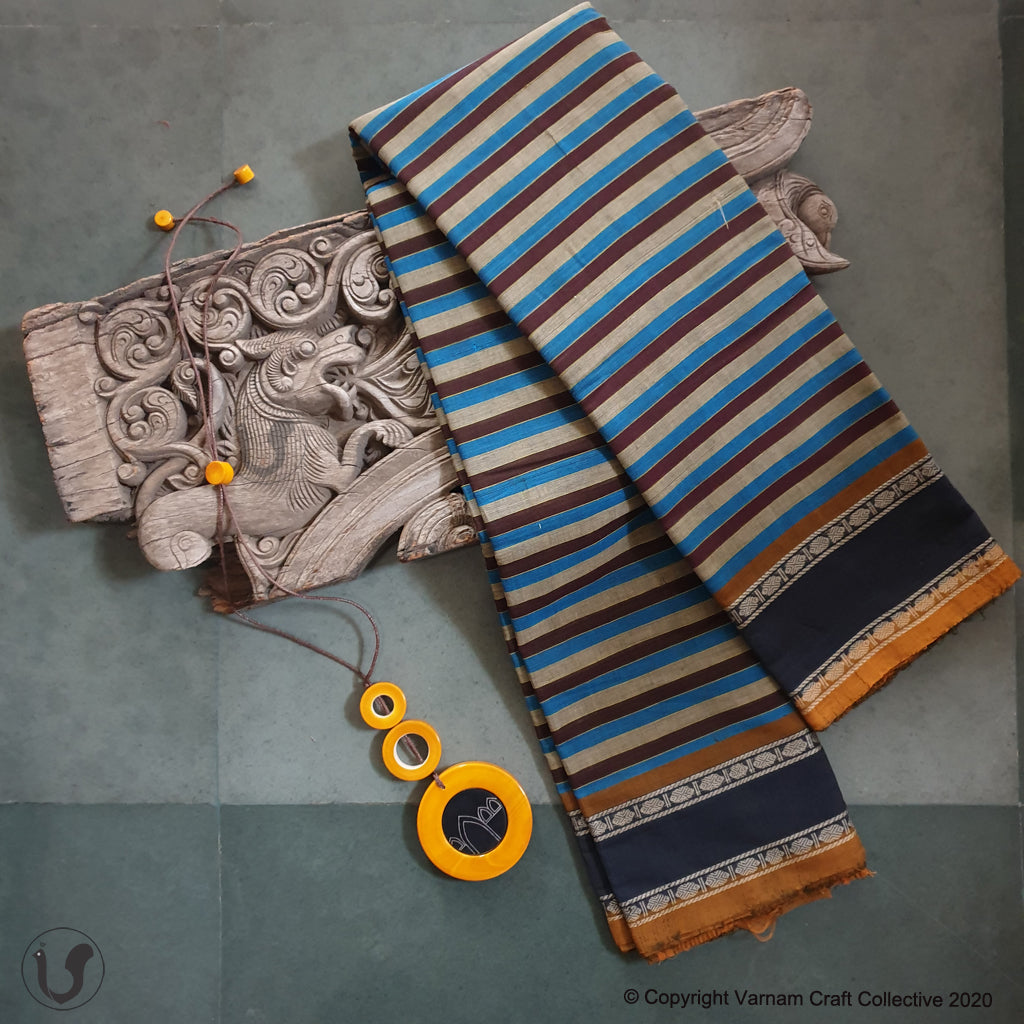 CHETTINAD STRIPES ~ Blue-brown-grey