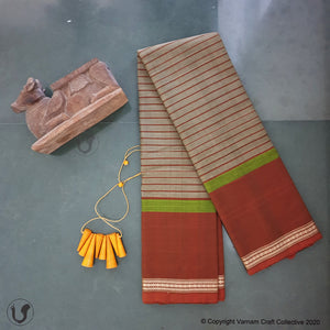 CHETTINAD STRIPES ~ olive green n brown