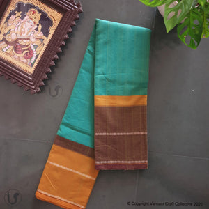 CHETTINAD GANGA JAMUNA ~ dark aqua with mustard brown