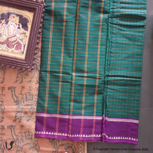 CHETTINAD CHECKS ~ green with purple border