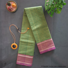 Load image into Gallery viewer, CHETTINAD CHECKS ~ parrot green n pink