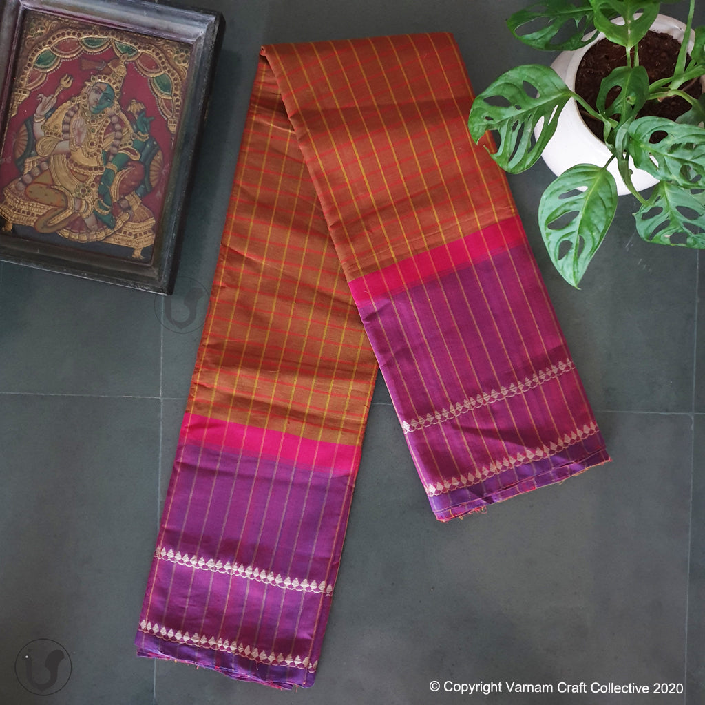 CHETTINAD CHECKS ~ orange fuschia