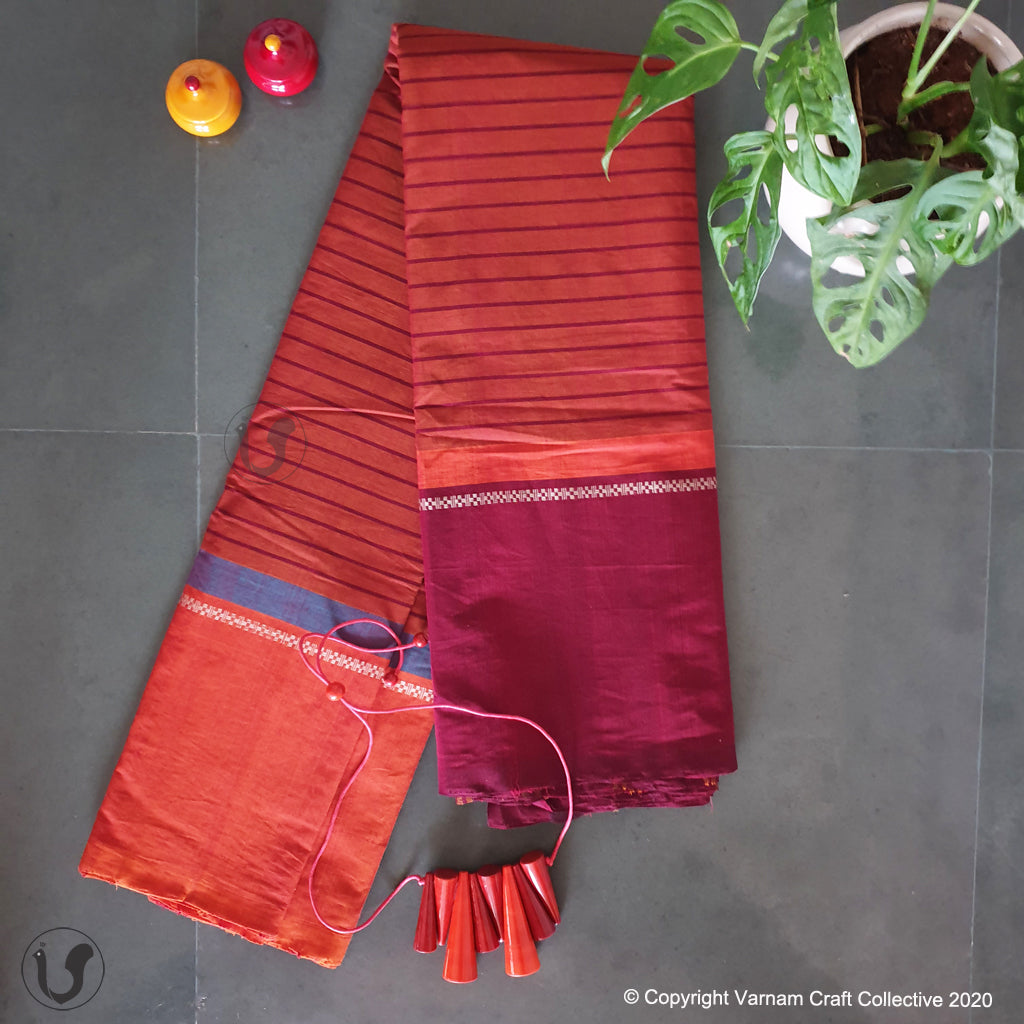 CHETTINAD STRIPES ~ Coral Red