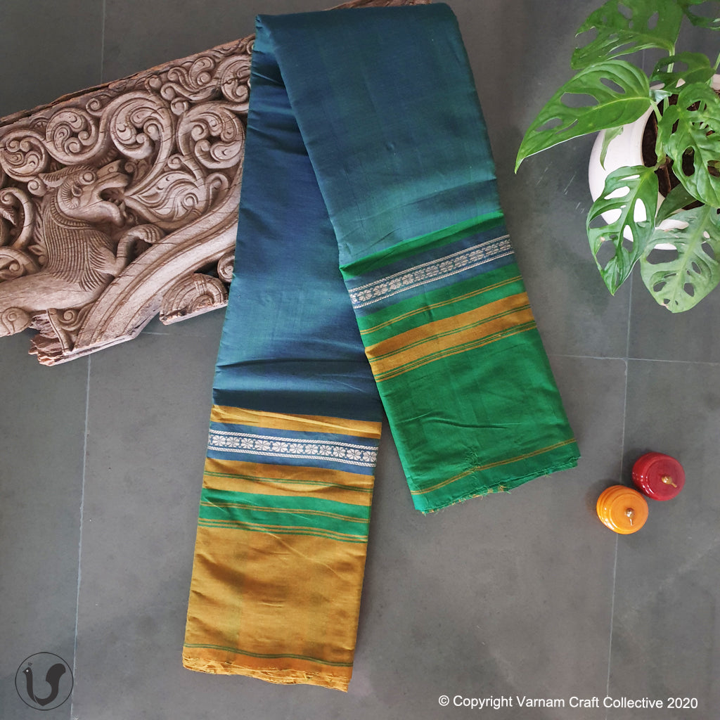 CHETTINAD GANGA JAMUNA ~ Peacock Blue greens