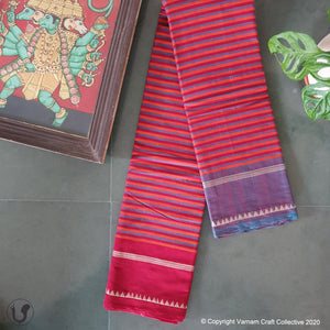 CHETTINAD STRIPES ~ maroons with lilac