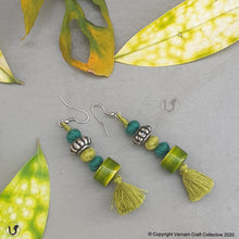 Load image into Gallery viewer, PATWA cylinder green-teal earring