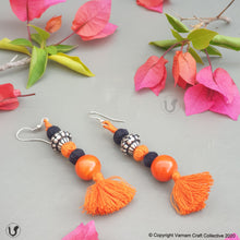 Load image into Gallery viewer, PATWA round orange-black earring