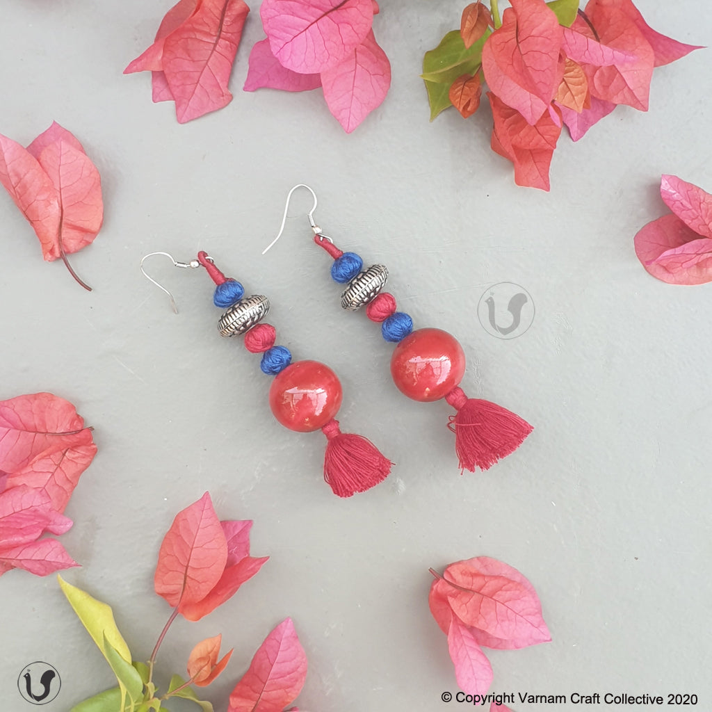 PATWA round red-blue earring