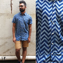 Load image into Gallery viewer, DABU CHEVRON indigo (half sleeves)