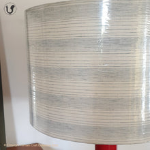 "Load image into Gallery viewer, FLOOR LAMP Red  ~ 18"" Blue Stripes SHADE"