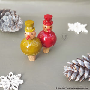 FLAKY SNOWMAN bottle stoppers (a pair)