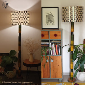 "FLOOR LAMP Green  ~ 18"" Black floral SHADE"