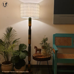 "FLOOR LAMP Green  ~ 18"" Blue Stripes SHADE"