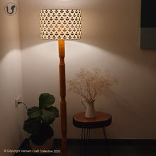 "Load image into Gallery viewer, FLOOR LAMP Yellow  ~ 18"" Black floral SHADE"