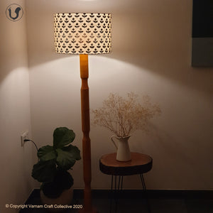 "FLOOR LAMP Yellow  ~ 18"" Black floral SHADE"