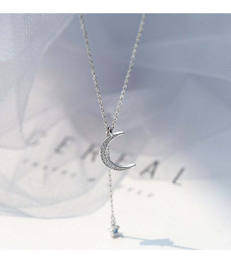 Trendy and Elegant Crystal Moon Star Necklace