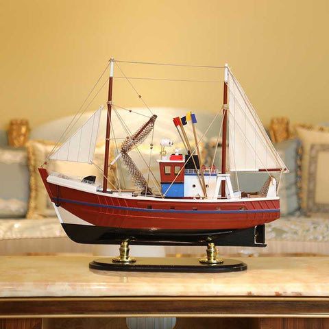 Fishing boat-Model boat in Red - WOODLIVE