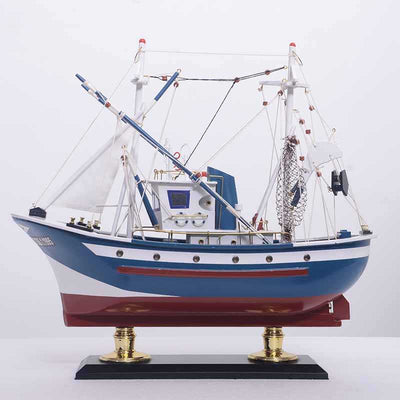 Large Tuna Fishing Boat in Blue - WOODLIVE