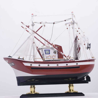 Large Tuna Fishing Boat in Red - WOODLIVE