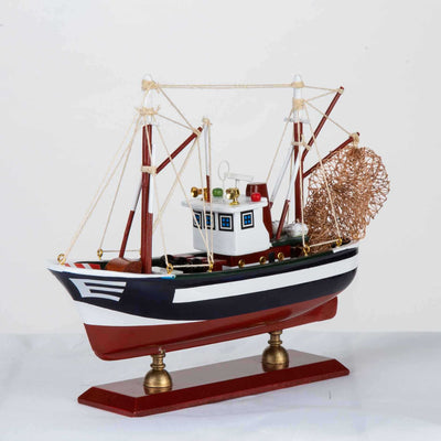 Wooden Handmade Traditional Fishing Boat HQ8722C - WOODLIVE