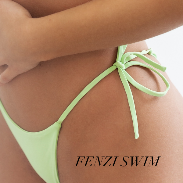 venom green triangle bikini with cheeky bottom