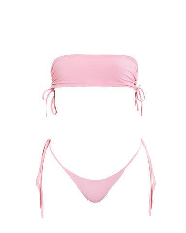 candy pink bikini with drawstring and tiable bottom