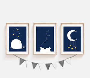 set of 3 navy blue prints for nursery