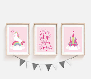 set of 3 pink unicorn prints for nursery