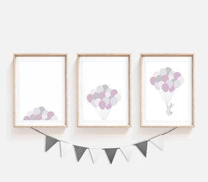 set of 3 lavender balloon prints for nursery