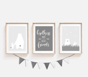 set of 3 grey prints for nursery