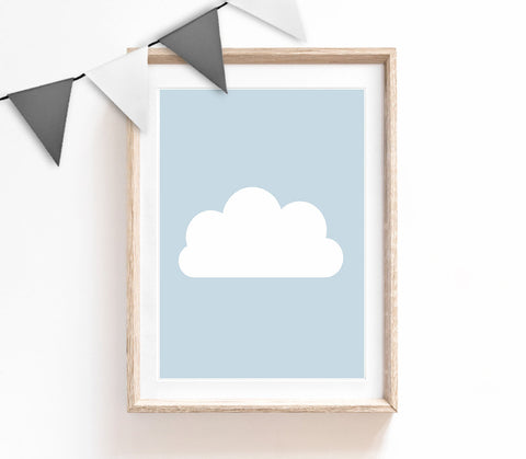 Blue Baby Nursery Art, Cute Print, Blue Cloud Poster, Kids Prints, Baby Gift, Baby Room, Small and Large Wall Art