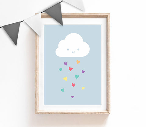 Blue Baby Nursery Art, Cute Print, Rainbow Cloud Poster, Kids Prints, Baby Gift, Baby Room, Small and Large Wall Art