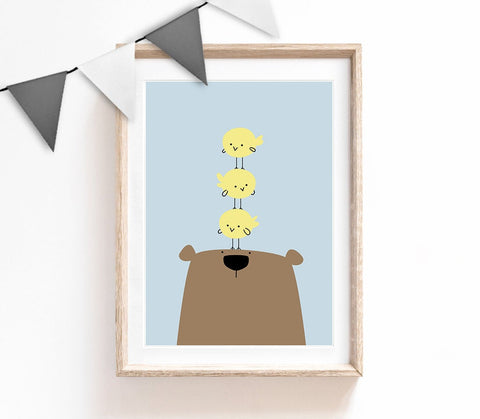 Brown and Blue Baby Nursery Art, Cute Print, Bear Poster, Kids Prints, Baby Gift, Baby Room, Small and Large Wall Art