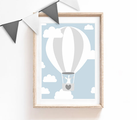 Blue Baby Nursery Art, Cute Print, Bunny Poster, Air Balloon Print, Kids Prints, Baby Gift, Baby Room, Small and Large Wall Art