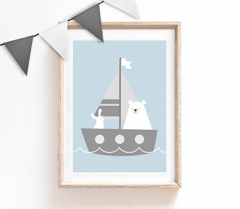 Blue Baby Nursery Art, Cute Print, Bear Bunny Poster, Sailboat Print, Kids Prints, Baby Gift, Baby Room, Small and Large Wall Art