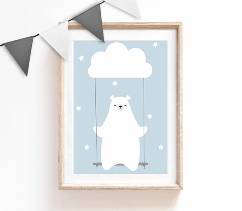 Blue Baby Nursery Art, Cute Print, Bear Poster, Cloud Print, Kids Prints, Baby Gift, Baby Room, Small and Large Wall Art