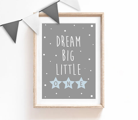 Dream Big Little One, Typography Wall Art, Cute Quote Print, Blue Home Decor, Nursery Print, Baby Room